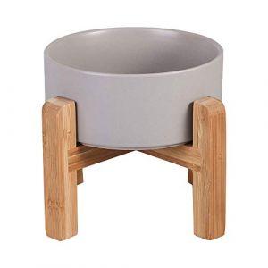 HCHLQLZ Gris Hauteur Porte-gamelle Surélevée Pet Gamelles pour Chien et Chat Gamelles Chien Chat Céramique avec Bambou Support en Bois (Hetoco, neuf)