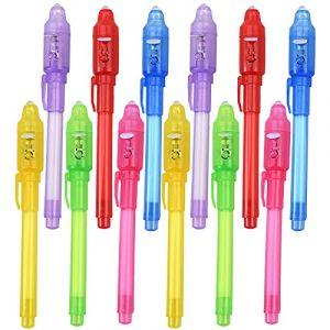 Faburo 12PCS Crayons à Encre Invisible Stylo invisible avec lumière UV Surligneur Stylo Magique pour Fêtes d'enfants Cadeaux (Haylong, neuf)