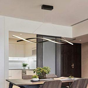 LED Suspension Lumière Pendante Dimmable avec télécommande Lampe suspendue Moderne Créatif Spirale Désign Lustre pour Îlot de cuisine Bar Café Salle à manger Table à manger Salon Bureau (Noir, L120CM) (LUCK-LIGHT, neuf)