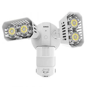 SANSI 18W Projecteur PIR LED avec détecteur de mouvement extérieur Lumière de sécurité LED 1800lm 5000K Lampe avec angle de détection jusqu'à 180°, Blanc (ISC Lighting Direct, neuf)