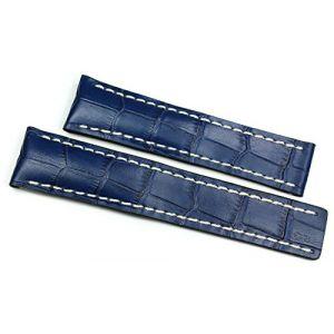 RIOS1931 Bracelet de montre fait main, en cuir de veau à embossage crocodile, pour montre Breitling à boucle déployante, bleu marine, 20/18mm (Sammlerparadies, neuf)