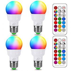 iLC Ampoule Couleur LED E27 Telecommande Blanc Chaud (2700K) Changement de couleur Ampoule 3W - RGB 12 choix de couleur - Edison Screw (Lot de 4) (RisingTech, neuf)