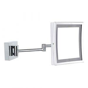 Miroirs Applique murale LED pour salle de bains Lumière simple face, loupe Hôtel pliant télescopique, mur, cadeau de fille murale (Couleur: Argent, Taille: 21x16cm) (JiangFeng, neuf)