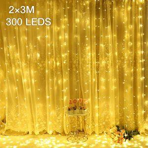 Rideau Lumineux 2M * 3M 300 LED?IP44/8 Mode d'Éclairage/Basse Tension?Ulinek Guirlande Lumineuse Lumiere Blanc Chaud, Décoration Intérieur/Extérieur de Noël Fête Mariage Soirée Anniversaire Maison (Ulinek, neuf)