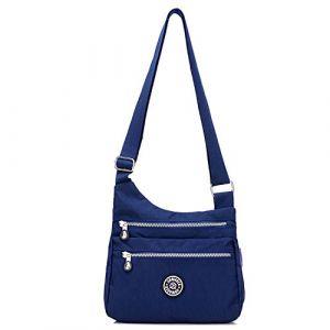 Outreo Sac bandoulière Femme Sac Porté épaule Léger Sac Besace Loisir Sport Bag Sacoche de Mode Imperméable Petit Sac à Main pour Fille, bleu 1, Medium (Foino, neuf)