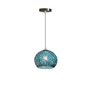 Pendentif Lampe Moderne Aluminium Abat jour - Lustre Suspension Luminaire Boule en Métal Coloré Lampe de Plafond Salon Chambre Cuisine Industrielle (Bleu) (Qian LiNIU, neuf)