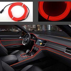 USB Néon EL Fil pour Intérieur De Voiture Vélo Cosplay Festival Décoration LED Rougeoyant Électroluminescent Fil Lumière Feux Froid avec Drive Lampe Lampe Glow String Strip 5 V?Red, 5 m? (Kingcorey, neuf)