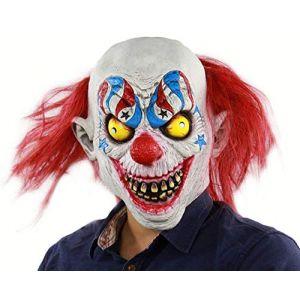 Masque De Latex Pour Halloween, Masque De Clown, Masque De Clown De Cirque D'horreur, Masque De Farce Visage Effrayant Halloween Party Costume, Bar Accessoires, Masquerade (M Monica, neuf)