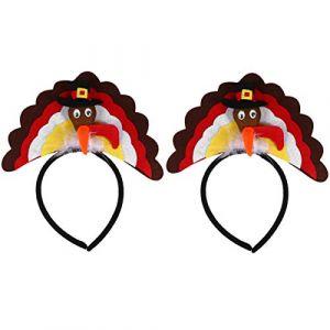 FRCOLOR 2 Pcs Turquie Bandeau Thanksgiving Accessoires De Cheveux En Peluche Poulet Bande De Cheveux Animal Cerceau De Cheveux Chapeaux Pour Costume De Fête De Vacances Femmes Hommes (lorianca, neuf)