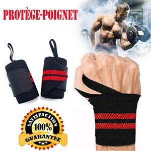 AINOLAN Protège-Poignet Sport Bracelet Bande Poignet – Bande de Support Poignet pour Haltérophilie, Musculation, Gymnastique, Bodybuilding, Crossfit (Rouge) (HaoKongFu, neuf)