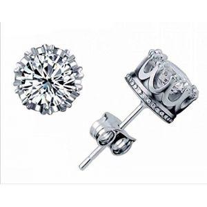 Boucles d'oreilles à tige en argent sterling 925 en forme de couronne en cristal autrichien pour homme et femme (funny Ltd., neuf)