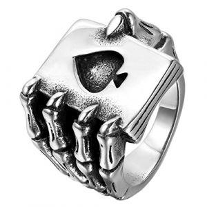 JewelryWe Bijoux Bague Homme Gothique Griffe Tête de mort Carte De Poker Bêche A Acier Inoxydable Anneaux Fantaisie Couleur Noir Argent (Taille de Bague 62) (JewelryWe Bijoux, neuf)