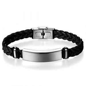 JewelryWe Bijoux Bracelet Homme Femme Polissage Gravure Personnaliser Tressé Manchette Cuir Acier Inoxydable Fantaisie Couleur Noir (JewelryWe Bijoux, neuf)