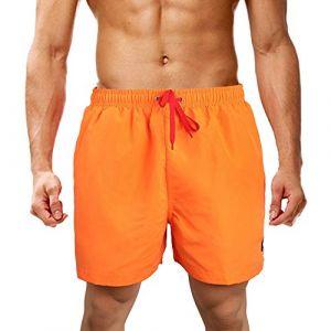 LK LEKUNI Shorts de Bain Homme Maillot Short de Jogging Short d'été Eté à Séchage Rapide Multicolore_Orange_XL (LK Fashion Store, neuf)