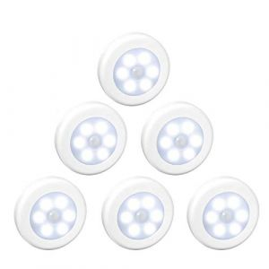 WRalwaysLX Lampe LED sans fil avec détecteur de mouvement pour placard, escalier, couloir, cuisine, chambre à coucher (6pcs) (coquille blanche (lumière blanche)) (WRalwaysLX Light, neuf)