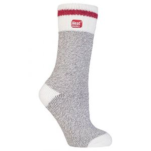 HEAT HOLDERS - Epaisse hiver chaude thermiques chaussettes femme fantaisie en 10 couleurs, taille 37-42 eur (Grey Block Twist) (Sock Snob Ltd, neuf)