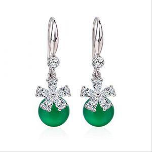 Boucles d'oreille pour femmes boucle d'oreille rétro topaze verte calcédoine boucles d'oreilles avec diamant naturel pierres précieusesvert (Graceguoer, neuf)