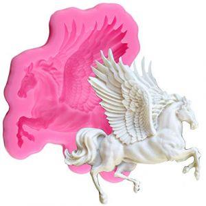 Moule en silicone 3D en forme de cheval pégase pour décoration de gâteau, gâteau, desserts, glaçons, savons, crème glacée, gelée, shots de bonbons (huqi472, neuf)