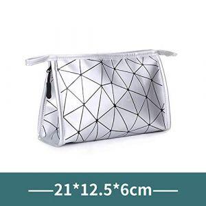 Sac cosmétique portable petite taille grande capacité voyage simple sac de rangement sac de rangement femelle trompette en argent (ManManXu, neuf)