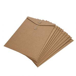 10pcs Chemises A4 en Papier Kraft Pochette à document Sac Enveloppe de Document Fichiers avec Ligne Boucle Porte-documents Stockage de Dossiers Portable Durable pour Bureau Scolaire (ITODAUK, neuf)