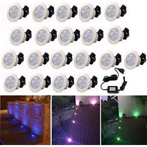 Spot Encastrable LED pour Terrasse,Mini Spot Encastré en DC12V IP67 Etanche Ø60mm Acier Inoxydable Exterieur luminaire,Eclairage pour Jardin,Couloir (RGB, 20 KIT) (CHENXU, neuf)