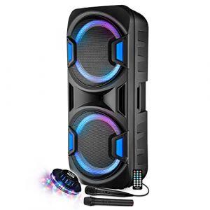 "Enceinte Sono DJ PA Mobile Party Batterie Karaoké 2x15"" 800W USB/BT/SD/F RADIO FM + 2 Micros VHF Effet Friztal MyDJ BOXER-215LED-MAGIC + OVNI (PACK-MANIA, neuf)"