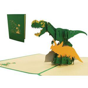 Lin 17538-Pop Up 3D, cartes carte d'anniversaire, cartes de vœux Dino, 3D pop up Cartes Carte d'anniversaire einschulung, dinosaure, n292 (LIN POP UP KARTEN, neuf)