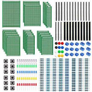 WayinTop Carte de Prototype PCB 6 Tailles avec Kit de Composants Electroniques, 2,54 mm 40 Pin Connecteur Mâle Femelle + 2/3Pin Bornier à Vis + Resistor Kit 10-1M Ohm + 5mm Diodes LED + Tact Tactile (WayinTop, neuf)