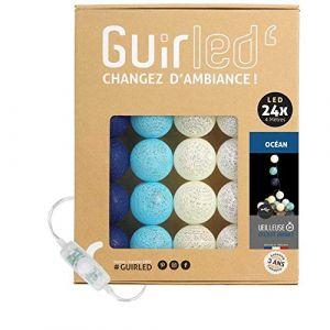 Guirlande Lumineuse boules coton LED USB - Chargeur double USB 2A inclus - 3 intensités - 24 boules - Océan (Lighting Arena, neuf)
