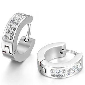JewelryWe Bijoux 4mm Boucles d'oreilles Anneaux à Charnière Faux Diamant Bling Bling Acier Inoxydable pour Homme et Femme Couleur Argent Avec Sac Cadeau (JewelryWe Bijoux, neuf)