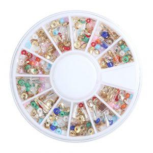 Holzsammlung 1 Boîte de Petit Strass Decoration Ongles Gel Tip Glitter rond Coloré en Résine pour Nail Art Manucure #46 (collecte de bois, neuf)
