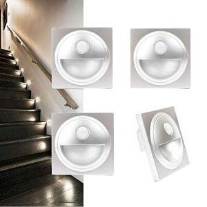 Arote LED Applique Encastré Murale d'escalier éclairage étape escalier lampe avec Détecteur de Mouvement en Plastique IP20 (Argent, 3000K) (Wonderful2018, neuf)
