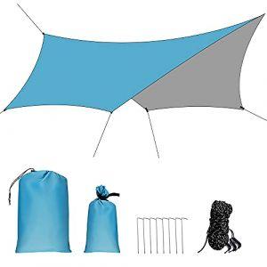 GROOFOO Camping Bâche Anti-Pluie 3 x 3M, Imperméable Tarp de Hamac Léger Bâche de Protection de Soleil pour Picnic, Backpacking, Camping en Plein Air (Bleu) (GROOFOO Mall, neuf)