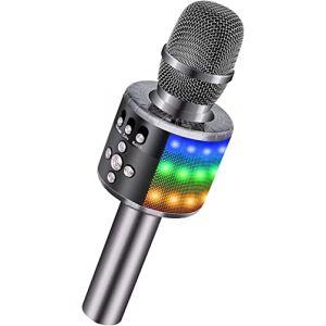 BONAOK Microphone Sans Fil, Microphone Karaoké Enfant Bluetooth Lecteur Enregistreur Portable, Lumières LED Coloré Microphone de Fête Familial pour Appareil Intelligent Android/iOS-Gris métal (BONAOK FR, neuf)