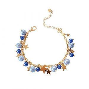 KEATTL Bracelet Femme,Océan Étoile De Mer Étoile Coquille Couleur Perle Petit Poisson Réglable Bracelet La Mode Bijoux (Étoile) (KEATTL, neuf)