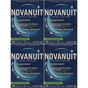 Novanuit Sommeil Triple action - Comprimés Sans Dioxide de Titane - 4 Mois de TRAITEMENT - Lot de 4 Boites de 30 Comp (4) (Pharmacie de l'Europe, neuf)
