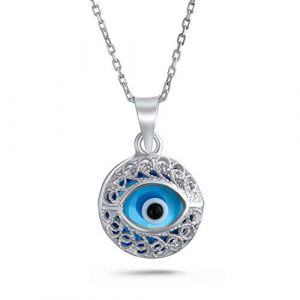 Bling Jewelry Mauvais Oeil Turc Blue Eye Protection Filigrane Rond Pendentif en Argent Collier pour Les Femmes pour Les Ados (Bling Jewelry, neuf)