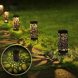 Aigostar Esta - Lampe Solaire Extérieur Jardin pack de 6. Marche/arrêt automatique. IP44 Étanches. Lumière chaude, batterie longue durée. Chemin Terrasse Cour Lampe Solaire. (AIGOTECH, neuf)