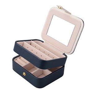 Boîte à bijoux, Aulola® Bijoux simili cuir et écran Coque à 2 couches avec miroir pour boucles d'oreilles Collier Bracelets de bijoux Organiseur Boîte de rangement bijoux, petite taille (Aulola-uk, neuf)