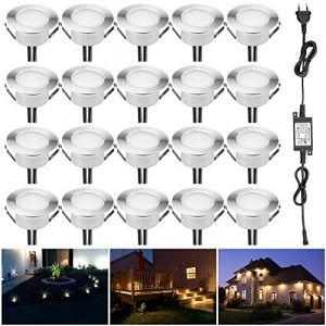 Spot à Encastrable Lampe de sol-Lumière (Blanc Chaud) étanche IP67 DC12V 1.5W Ø61mm-éclairage pour terrasse, patio, chemin, mur, jardin, décoration, intérieur et extérieur (INDARUN-EU, neuf)