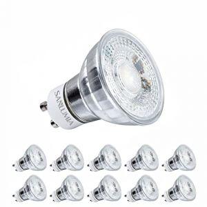 Sanlumia | 7W LED Spot Culot GU10 | Dimmable | 520LM | équivaut 75W halogène | Blanc Froid 6400K | LED Light Lampe |38° Larges Angle de Faisceau | Finition Verre | Lot de 10 Ampoules (Sanlumia, neuf)