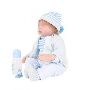 CUEYU Poupée reborn poupee bebe reborn 55 cm bebe reborn fille poupon vrai bébé, À La Main Jouet Enfants d'anniversaire Cadeaux Noël (Bleu) (QUEYUhd3d, neuf)