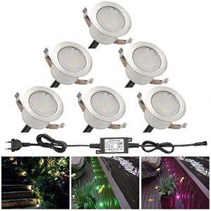 Lampe au Sol Spot Encastrable-Lumière réglable RGBW (RGB+Blanc Chaud) étanche IP67 Ø31mm-éclairage pour terrasse, patio, chemin, mur, jardin, décoration, intérieur et extérieur (INDARUN-EU, neuf)