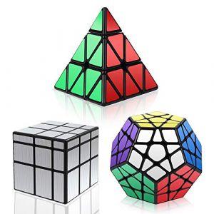 Vdealen Noir Magic Dodecahedron Megaminx + 3x3x3 Pyramid Cube+ 3x3 Argent Miroir Puzzle Cube (HURDILEN, neuf)