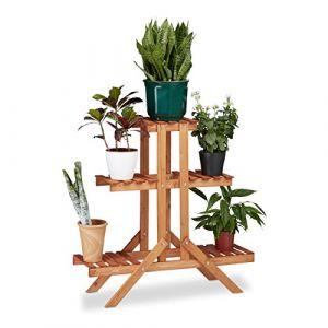Relaxdays 10020749 Etagère à Fleurs en Bois escalier pour Plantes échelle 3 étages 5 Places HxlxP: 82,5 x 83 x 28,5 cm Brun Clair