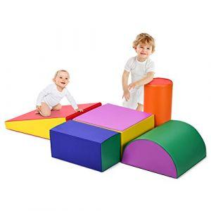 COSTWAY Blocs de Construction en Mousse Colorée -Grands XL- 5 Pièces Jouets Éducatifs sur Logiciel avec Housse en Polyuréthane et Obturateur EPE pour Enfants d'Âge Préscolaire, Bébés (FDS GmbH, neuf)
