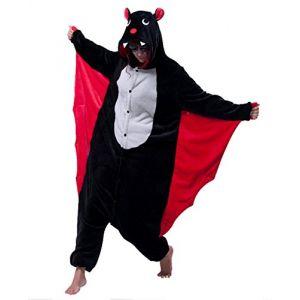 mauea Pyjama Animaux Cosplay Halloween Costume Déguisement Combinaison Vêtement de Nuit Adulte Femme Homme Unisexe (Chauve-Souris,S) (Mauea Shop, neuf)