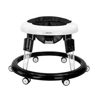 Trotteur Bebe, Pliable Pousseur Trotteur pour Bebe avec Frein et Coussin Hauteur Rétractable et 8 Pouces Universels, Charge Maximale 20KG (Coussin Noir PU) (Lumocell, neuf)