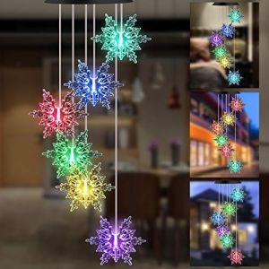 GLKEBY Solaire Carillon Éolien, Lampe de Jardin Changeante de Couleur imperméable de contrôle de la lumière, décoration de Lampe Suspendue de terrasse (Facaishu-UK, neuf)
