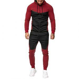 Survêtements Homme Vêtements,Ensemble Survetement Homme Sport Survêtement Hommes Sweat-Shirt a Capuche Pantalon de Survetement Dégradé Impression Zippe Jogging Automne Hiver Youngii (Rouge E, L) (Youngii, neuf)
